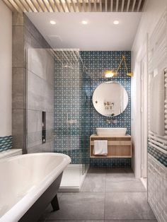 grey + white bathroom in a long narrow space, contemporary version of clawfoot tub, white subway + blue + white geometric tiles, floating cabinet, round mirror, by InteriorDI, Russia, architectural rendering via desire to inspire