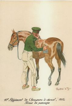 French; 10th Chasseur a Cheval, tenue de pansage. 1812