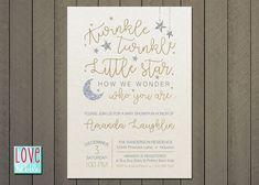 Twinkle Twinkle Little Star Baby Shower Gold Silver Stars