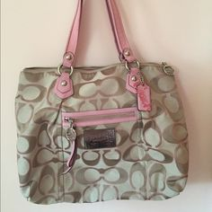 AUTHENTIC Coach Poppy Signature Sateen Lurex Tote Pretty in pink for spring and summer! Very used with dark markings on leather trimming-handles, near hardware on front and back of bag. Marking on front of bag.  1 compartment with 2 pockets on the front and 1 zipper pocket on the back. Zipper closure. Coach Bags Totes