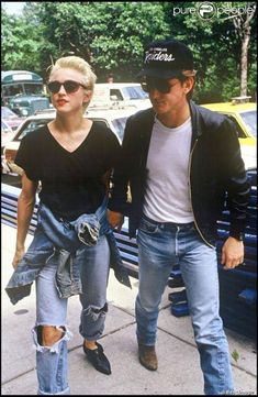 Madonna & Sean Penn on West 64th Street in 1987. Photo by: Ron Galella.