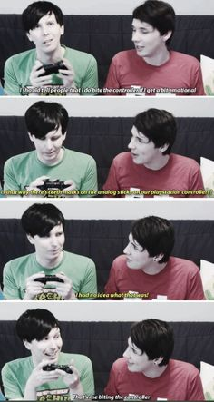 Aww! Now I'm actually picturing Phil biting the controllers <3