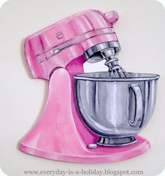 Jumbo pink vintage mixer wood diecut by Everyday is a Holiday - sooo wishing I… Kitchen Art, Kitchen Aid Mixer, Bakery Logo Design, Cupcake Art, Cupcake Pics, Cake Logo, Food Drawing, Vintage Holiday, Food Illustrations
