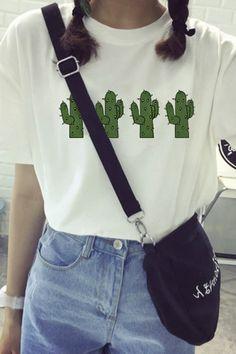 Girlfriend Cactus Print Loose Fit Tee