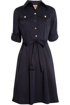 Tory Burch I Blythe Stretch Cotton Blend Shirt Dress Navy Blue Short Dress, Navy Blue Dress Shirt, Blue Dresses, Short Dresses, Button Down Shirt Dress, Long Shirt Dress, Tori Tori, Mode Style, Pretty Outfits