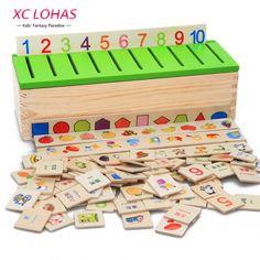 Montessori Pendidikan Mainan Kayu Permainan Pengakuan Anak-anak Bayi Belajar Awal Kotak Klasifikasi Mainan untuk Anak Math Mainan