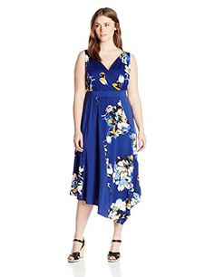 NY Collection Womens PlusSize Printed Sleeveless Maxi Dress Indigo Aviflora 1X * You can get additional details at the image link.(This is an Amazon affiliate link and I receive a commission for the sales)