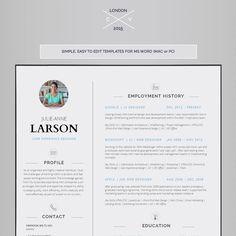 Resume Template CV Template Cover Letter van introDuice op Etsy