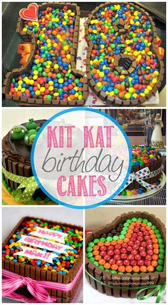 DIY Birthday Cakes Using Kit Kats (Chocolate Bars) kat birthday cakes Torta Candy, Candy Cakes, Cupcake Cakes, Cute Cakes, Yummy Cakes, Diy Birthday Cake, Cat Birthday, Diy Cake, Occasion Cakes