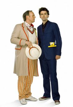 doctor who peter davison | Peter Davison and David Tennant - Time Crash promo shoot.Click to see ...