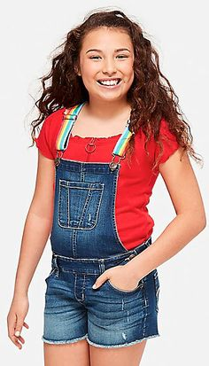 Justice is your one-stop-shop for on-trend styles in tween girls clothing & accessories. Shop our Rainbow Strap Denim Shortalls. Tween Fashion, Teen Fashion Outfits, Short Outfits, Girl Fashion, Kids Outfits Girls, Tween Girls, Girl Outfits, Overalls Outfit, Denim Overalls