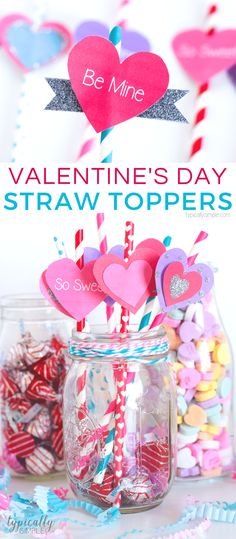These straws toppers are a super cute and easy Valentine's Day craft project! Use them for table decor, drinks, cupcake toppers, or just a fun craft for the kids to make using the free Valentine's Day printable! Easy Valentine Crafts, Valentine Treats, Valentines Day Party, Valentines For Kids, Easy Diy Crafts, Diy Crafts For Kids, Fun Crafts, Valentine Bouquet, Simple Crafts