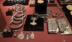 Viking age /Silver hoard including a Thor's Hammer amulet in the Stockholm museum.