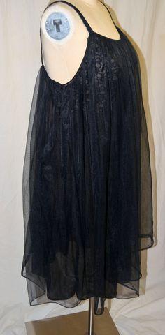 Vintage Vanity Fair Black Sheer Nylon & Lace Nightgown