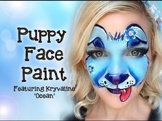 Puppy Face Painting Tutorial featuring Kryvaline Creamy Rainbow: Ocean