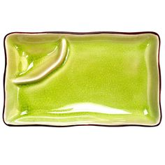 Japanese Style 8 x 4 Divided Plate Golden Green/Case of 24