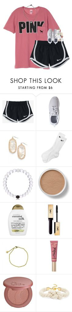 """""""so how's school going?"""" by classynsouthern ❤ liked on Polyvore featuring NIKE, Kendra Scott, Bare Escentuals, Organix, Cartier, Too Faced Cosmetics, tarte and BaubleBar"""