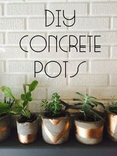 43 DIY concrete crafts - Gold Painted Concrete Succulent Pots- Cheap and creative projects and tutorials for countertops and ideas for floors, patio and porch decor, tables, planters, vases, frames, jewelry holder, home decor and DIY gifts.  http://diyjoy.com/diy-concrete-crafts-projects