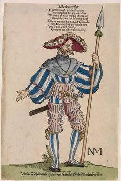 Sebald Beham - Wachmayster (Wachtmeester) - circa 1530 A landsknecht regiment consisted of about four to five thousand soldiers led by a colonel. Within a regiment various officials (a kind of officers) who were responsible for specific tasks, such as justice, police and supplies were. The sergeant looked at guarding the camp. As a carrier of a regiment office 'he holds a brief spike fixed.