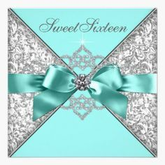 Beautiful white diamonds and teal blue with silver gray damask Sweet 16 Birthday Party Invitation cards