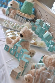tiffany blue dessert table for a boy baby shower - DigsDigs