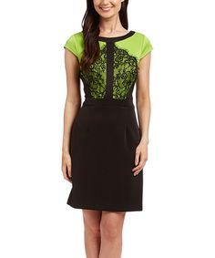 Look what I found on #zulily! Lime & Black Lace-Bodice Sheath Dress #zulilyfinds