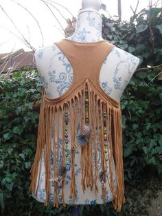 Sunrise Tribe. Native Indian Tribal Waistcoat Vest Bolero with Feathers Boho Clothing size S Fringed Brown Hippie Pixie Psytrance on Etsy, $33.65