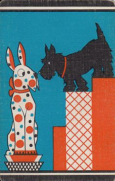 Vintage Scottie Playing Card