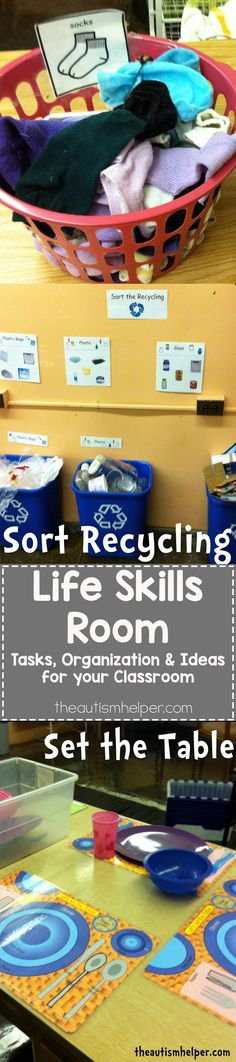 Tips & Tricks for setting up a Life Skills Room to help teach students with Autism important life skills & vocational tasks! Some really great practical tips here to make the most out of your vocational skills. Read more at: http://theautismhelper.com/life-skills-room-2/