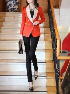 Corporate Chic Thin Blazer Suit (Red Orange) $29.99