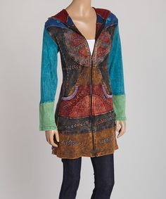 Look what I found on #zulily! Blue Patchwork Peace Sign Zip-Up Hoodie Duster #zulilyfinds - love it!