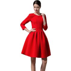 Choies Red Long Sleeve High Waist Skater Dress ($28) ❤ liked on Polyvore featuring dresses, red, longsleeve dress, long sleeve skater dress, long sleeve dresses, red day dress and red dress