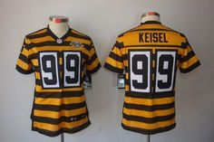 e12e69f65ce73 Nike Steelers  99 Brett Keisel Yellow Black Alternate Women s Embroidered  NFL Limited Jersey!
