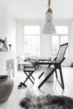 Nice clean white interior with black accent. #interior #style #interiordesign #home