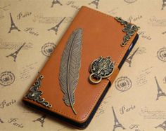 antique feather wolf head  brown iphone 6 iphone 6 plus wallet case,lg g3 wallet ,Sony xperia z2 wallet ,htc one M8 wallet