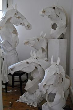 Paper animal sculptures by Anna-Wili Highfield, we can't choose which one animal we love more