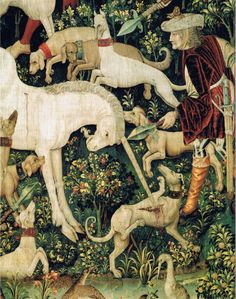 The Unicorn Defends Itself (detail), from the Unicorn Tapestries, 1495–1505 Medieval Tapestry, Medieval Art, Renaissance Art, Art And Illustration, Unicorn Tapestries, Dragons, The Last Unicorn, Unicorn Art, Tapestry Weaving