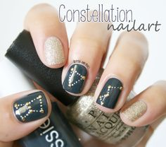 Glitter and Nails: Constellation Nail Art // Essie Mind your Mittens + OPI My Favorite Ornament