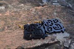 Black Victorian ornaments statement earrings / Laser cut earrings / Acrylic earrings /Summer jewelry/ Lace earrings