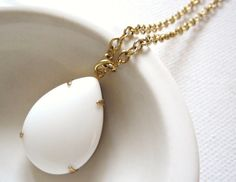 Milk Glass  White Glass Drop Necklace by theplaincanvas on Etsy, $18.00