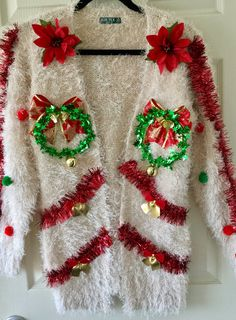 Lights up Unique ugly Christmas sweater, Mini wreath ugly Christmas sweater,Tacky Ugly Christmas sweater Homemade Ugly Christmas Sweater, Ugly Christmas Sweater Women, Christmas Shirts, Christmas Fun, Christmas Sweaters, Christmas Parties, Country Christmas, Crafts For Seniors, Senior Crafts