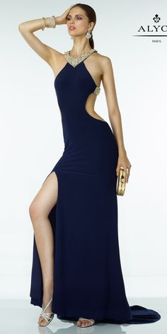 Alyce 35774 Open Back Gown. Colors: Navy/Gold, Ivory/Gold, Black/Gold. Size: 00-12