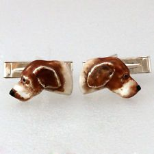 DOG Pointer Setter cufflinks Sterling Silver 925 enamel Hand Made 3D Lot 731