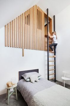 Kids bedroom with loft hangout. Bed by Mark Tuckey; stool from Cafe Culture+Insitu. Story: Australian House & Garden