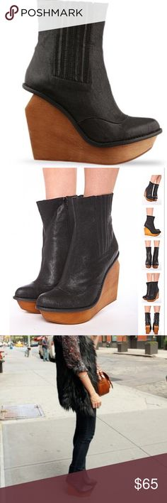 Jeffrey Campbell Brisbane boots Jeffrey Campbell Brisbane black leather boots! Size 8. Super comfortable! Wooden wedge heel has some scuffing Jeffrey Campbell Shoes Heeled Boots