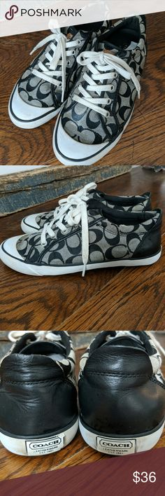 Coach Sneakers Really cute pair of Coach logo sneakers. These have been worn but are in pretty good shape. There are dark spots on the white bumper area and marks that show wear. Size 9B. They are used but have so much life left!! Coach Shoes