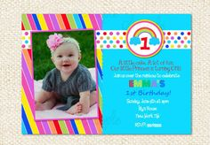 Rainbow Birthday Invitations by LollipopPrints on Etsy, $10.00