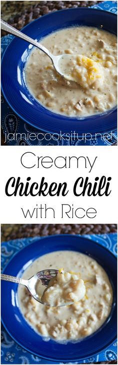 Creamy Chicken Chili with Rice from Jamie Cooks It Up! Loaded with ...