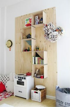 Modern wood shelves DIY idea for kitchen shelf
