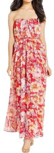 Nine West Women's Belted Floral Strapless Chiffon Dress (16, Summer Flame Combo)